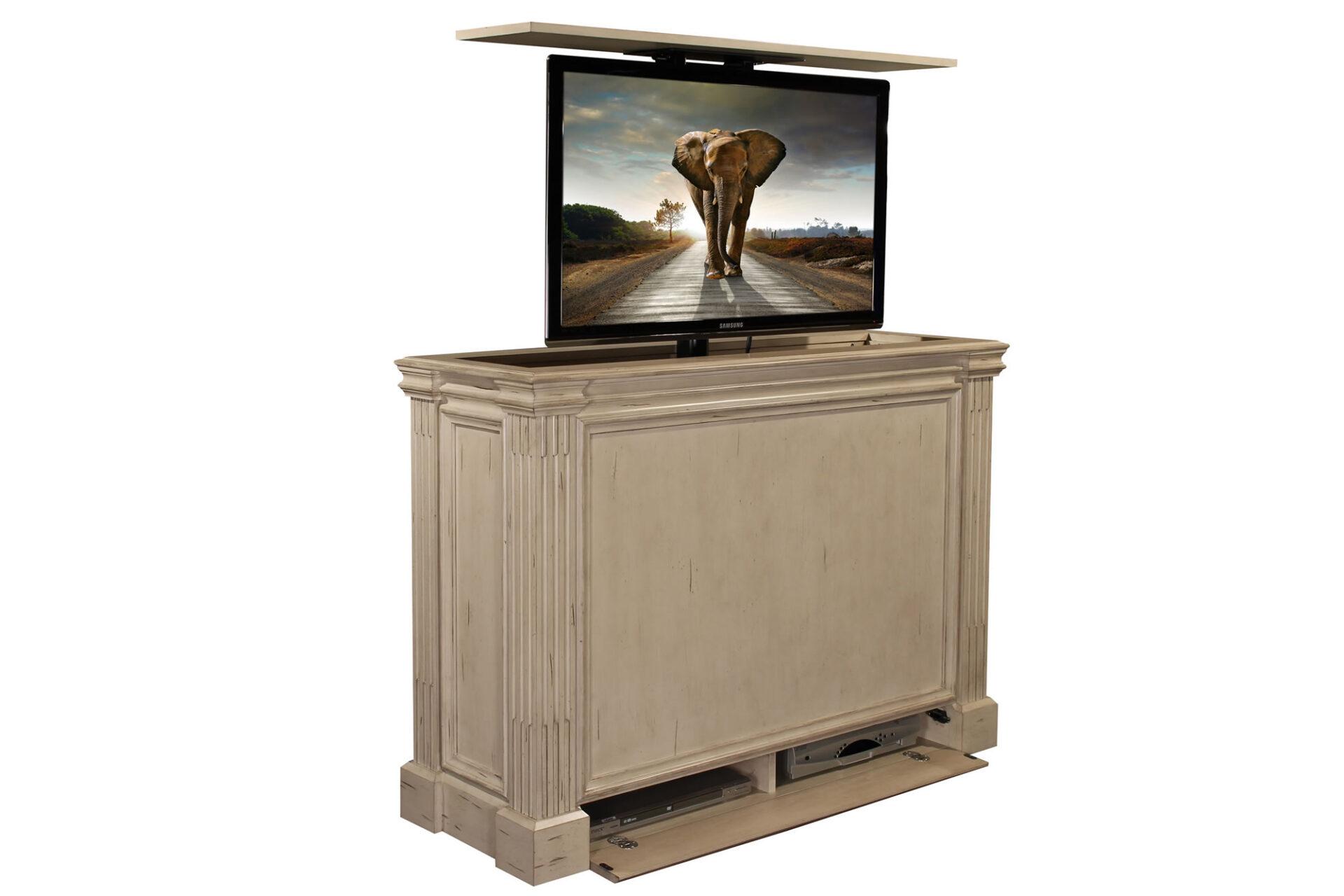 Awesome Ritz Camden White Tv Lift Cabinet Tv Lift Furniture Download Free Architecture Designs Sospemadebymaigaardcom