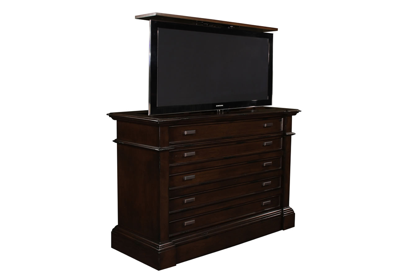 Santa Cruz dresser TV lift cabinet has high quality finish and US made TV lift system Built by Cabinet Tronix