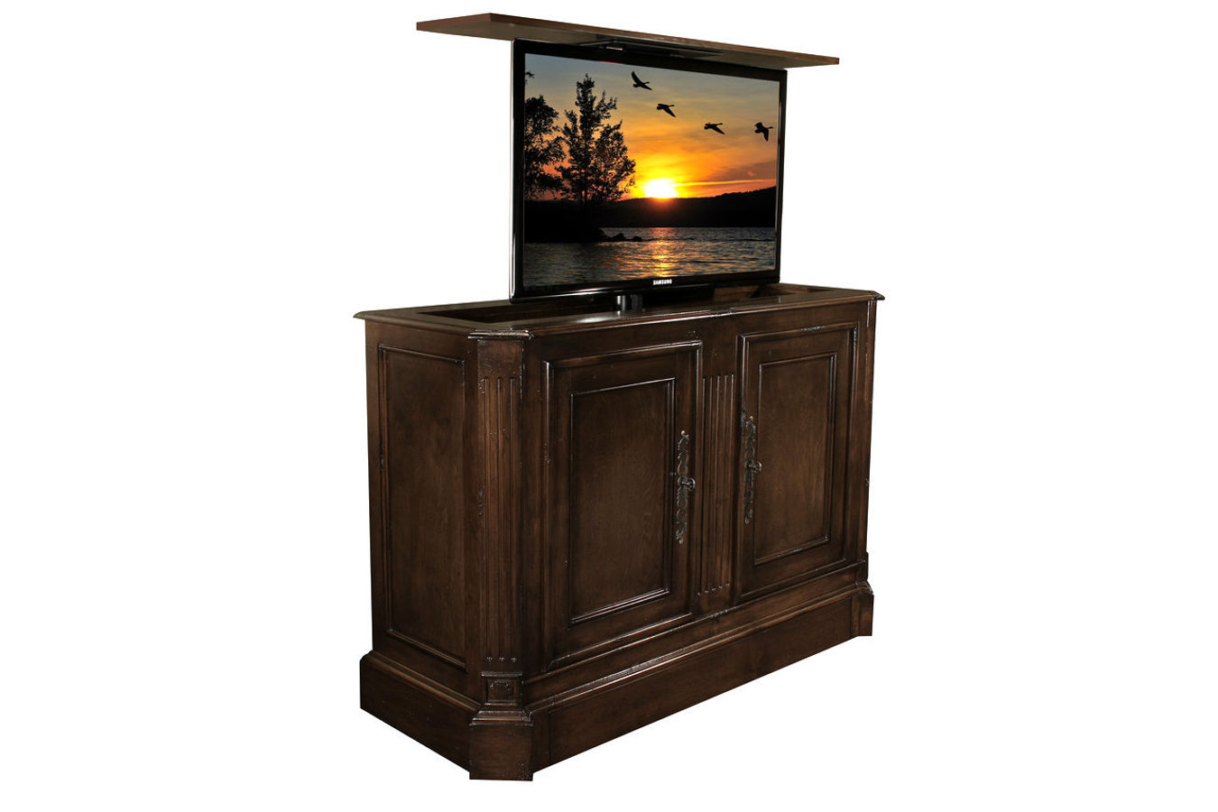 Sierra French Walnut Disappearing TV Cabinet - Flat Screen Tv Riser Sierra TV Lift Cabinets