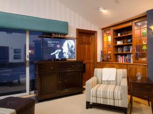 TV cabinet furniture in corner of ocean room