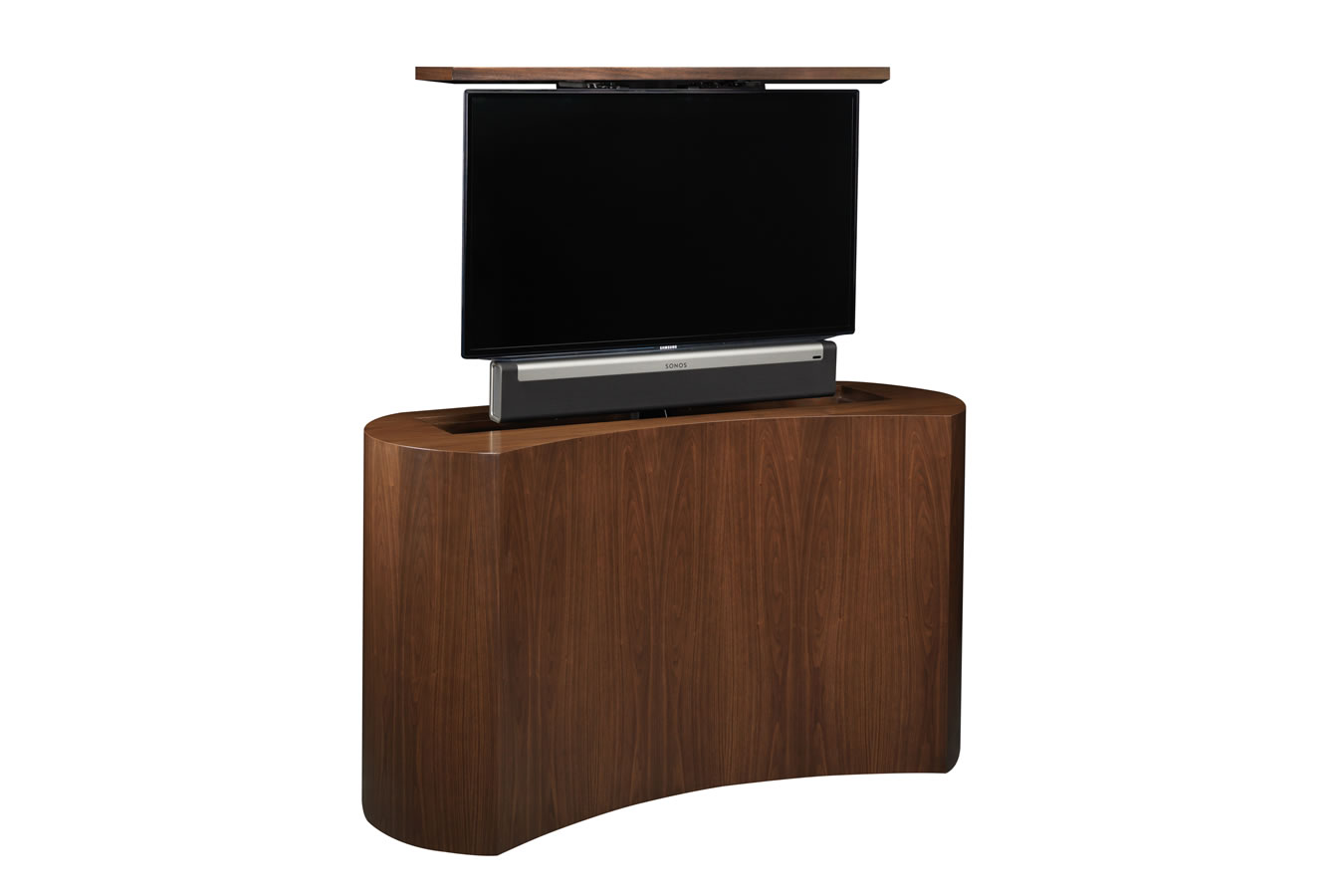 hidden tv cabinet with lift coast black satin tv cabinet. Black Bedroom Furniture Sets. Home Design Ideas