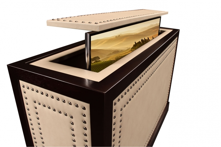 toscana cabinet with tv lift hidden inside leather furniture design credenza is made to order
