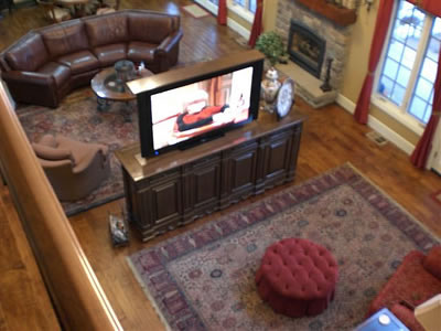View From Upstairs Of Center Of Room Tv Lift Pop Up