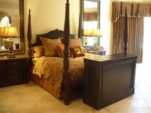 Vineyard in espresso finish in beautiful bedroom