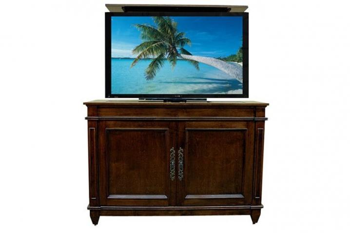 hidden pop up tv stand angora custom motorized tv stand. Black Bedroom Furniture Sets. Home Design Ideas