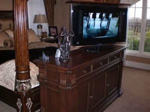 custom greenwich furniture in bedroom hides and swivels TV