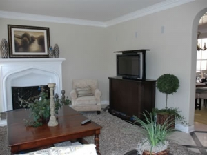 model home has Executive furniture design in family room revealing TV